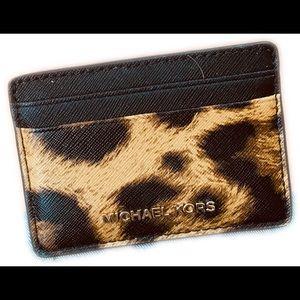 Michael Kors Leather card holder (leopard) NWOT